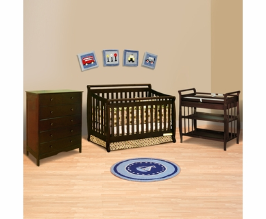 AFG 3 Piece Nursery Set - Amy 4 in 1 Convertible Sleigh Crib, Nadia Changing Table and Molly 6 Drawer Dresser in Espresso