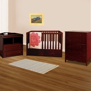 AFG 3 Piece Nursery Set - Marilyn Convertible Crib, Leila 2 Drawer Changer and Molly 6 Drawer Dresser in Cherry