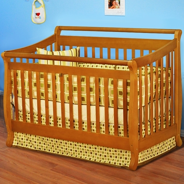 AFG Athena Amy 4 in 1 Convertible Sleigh Crib in Pecan - Click to enlarge