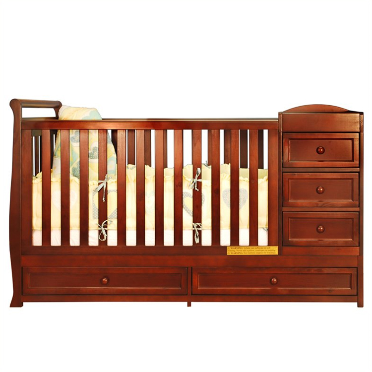 AFG Athena Daphne I 2 in 1 Convertible Crib and Changer Combo in Cherry  FREE SHIPPING - AFG Athena Daphne I 2 In 1 Convertible Crib And Changer Combo In