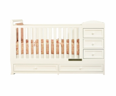 AFG Athena Daphne I 2 in 1 Convertible Crib and Changer Combo in White