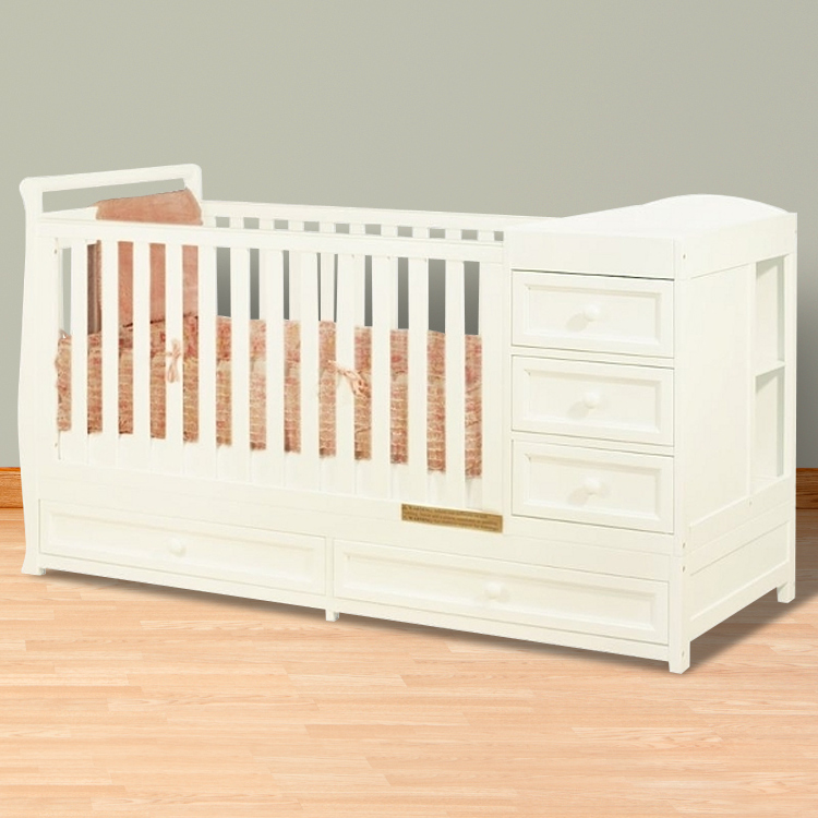Great AFG Athena Daphne I 2 In 1 Convertible Crib And Changer Combo In White FREE  SHIPPING