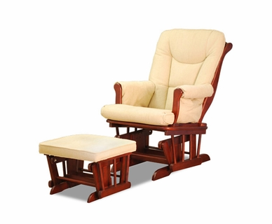 AFG Sleigh Glider Chair with Matching Ottoman in Cherry