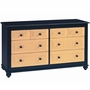 Alligator Slatted Collection 6 Drawer Dresser in Denim Blue / Butter