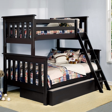Alligator Slatted Collection Twin Over Full Bunk Bed in Antique Black - Click to enlarge