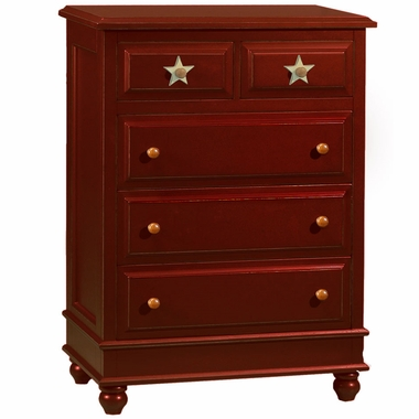 Alligator Stars Collection 5 Drawer Chest in Red Spice - Click to enlarge