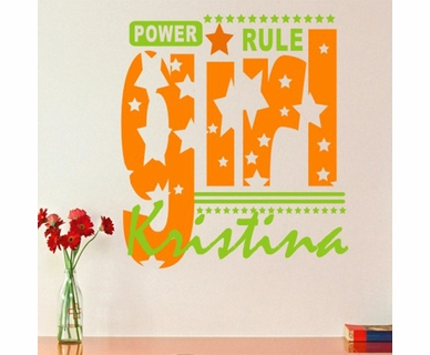 Alphabet Garden Designs Girls Rule Vinyl Wall Decal