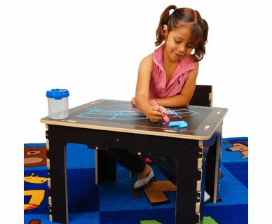Anatex Flip Top Dry Erase and Chalk Table with 1 Bench in Natural