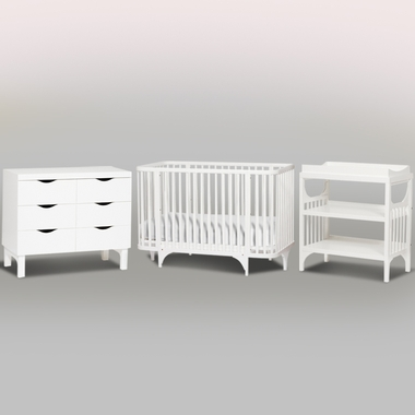 Argington 3 Piece Nursery Set - Bam Crib, Bam Changing Table and Bam Six Drawer Dresser in White - Click to enlarge