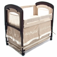 Arm's Reach Concepts Cambria Wood Clearvue Bassinet in Linen Toffee/Embroidery