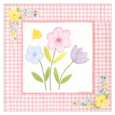 Art 4 Kids Gingham Flowers I Wall Art