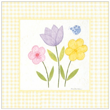 Art 4 Kids Gingham Flowers IV Wall Art