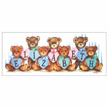 Art 4 Kids Pastel Heart Bears Create-A-Name Wall Art
