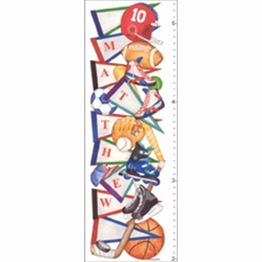Art 4 Kids Sports Pennant Growth Chart Create-A-Name Wall Art