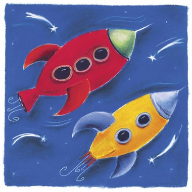 Art 4 Kids Two Rockets Blast Off Wall Art