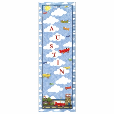 Art 4 Kids Up, Up, Away Growth Chart Create-A-Name Wall Art