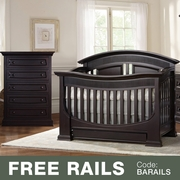 Baby Appleseed 2 Piece Nursery Set - Chelmsford 3-in-1 Convertible Crib and Davenport 5 Drawer Tall Dresser in Espresso