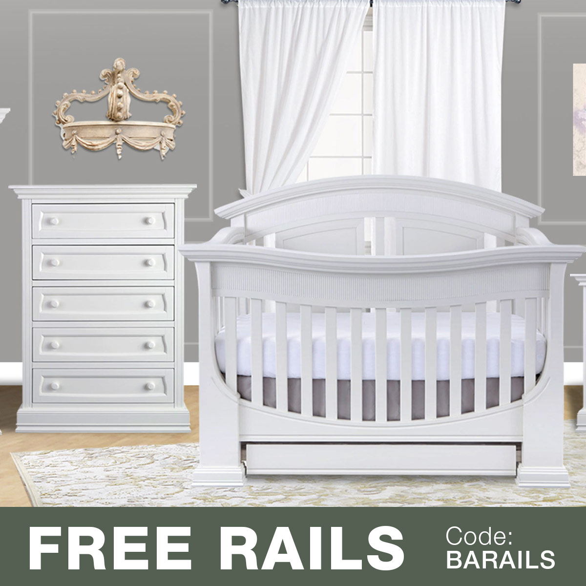 Baby appleseed 2 piece nursery set chelmsford 3 in 1 convertible crib and davenport 5 drawer tall dresser in pure white free shipping