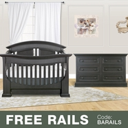 Baby Appleseed 2 Piece Nursery Set - Chelmsford 3-in-1 Convertible Crib and Double Dresser in Brown Slate