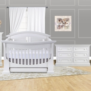 Baby Appleseed 2 Piece Nursery Set - Chelmsford 3-in-1 Convertible Crib and Double Dresser in Pure White