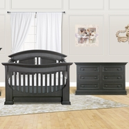 Baby Appleseed 2 Piece Nursery Set - Chelmsford 3-in-1 Convertible Crib and Double Dresser in Slate