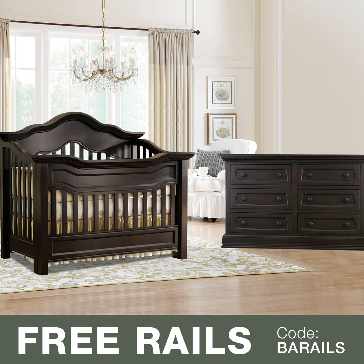 Baby Appleseed 2 Piece Nursery Set   Millbury 3 In 1 Convertible Crib And  Davenport Double Dresser In Slate FREE SHIPPING