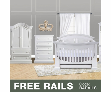 Baby Appleseed 3 Piece Nursery Set - Chelmsford 3-in-1 Convertible Crib, Davenport 5 Drawer Tall Dresser and Armoire in Pure White