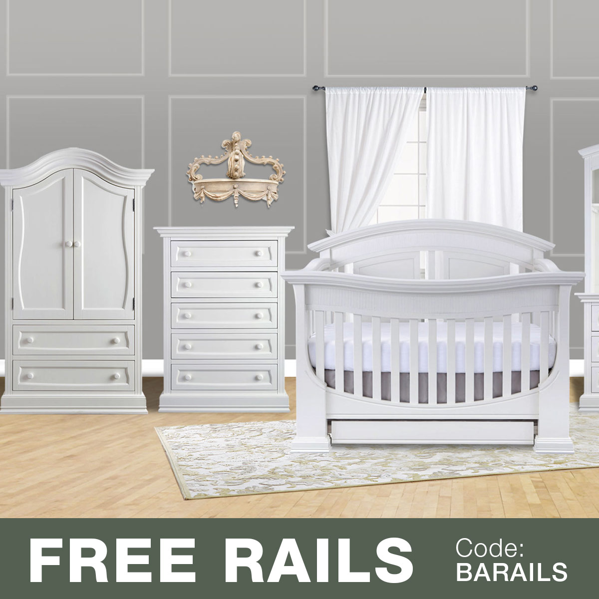 Baby Appleseed 3 Piece Nursery Set   Chelmsford 3 In 1 Convertible Crib,  Davenport 5 Drawer Tall Dresser And Armoire In Pure White FREE SHIPPING