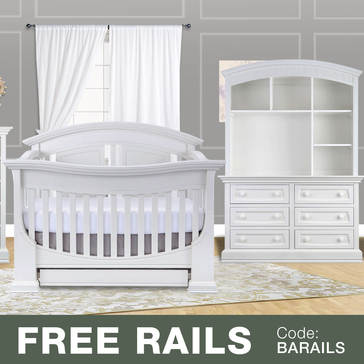 Baby cribs and dresser sets - Baby Appleseed 3 Piece Nursery Set Chelmsford 3 In 1 Convertible Crib Davenport Double Dresser And Hutch In Coco Free Shipping