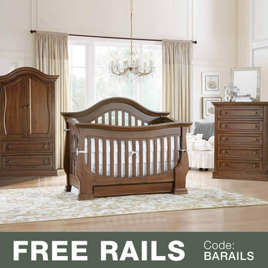 Baby Appleseed Davenport 3 Piece Nursery Set - 3-in-1 Convertible Crib, 5 Drawer Tall Dresser and Armoire in Coco - Click to enlarge