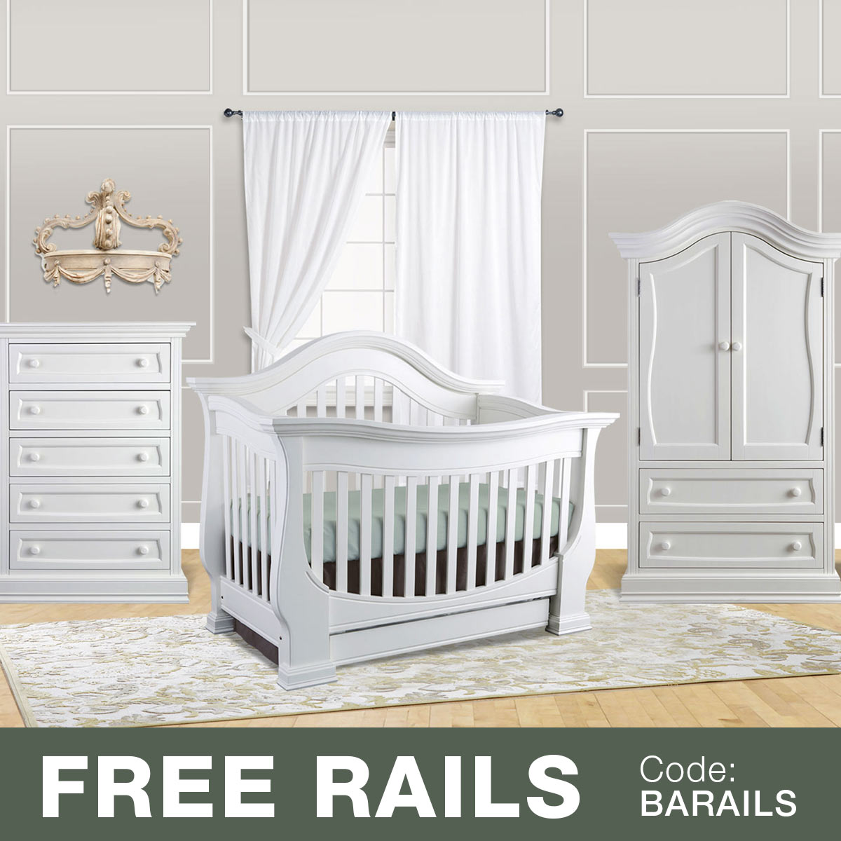 Baby Appleseed Davenport 3 Piece Nursery Set   Convertible Crib, Armoire  And 5 Drawer Chest In Espresso FREE SHIPPING