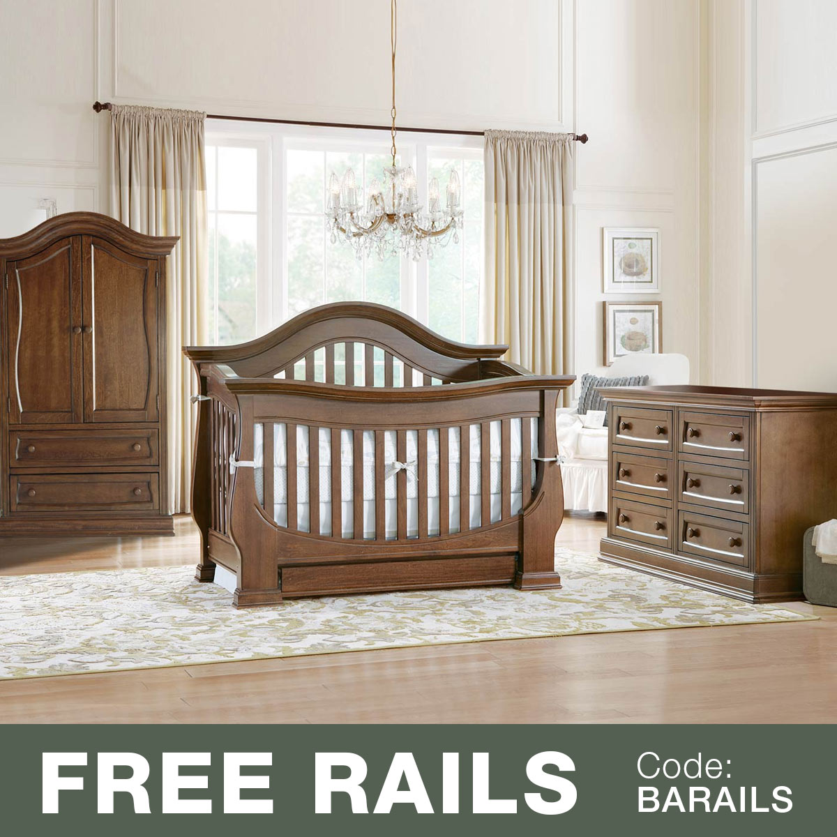 Baby Appleseed 3 Piece Nursery Set   Davenport 3 In 1 Convertible Crib,  Double Dresser And Armoire In Coco FREE SHIPPING