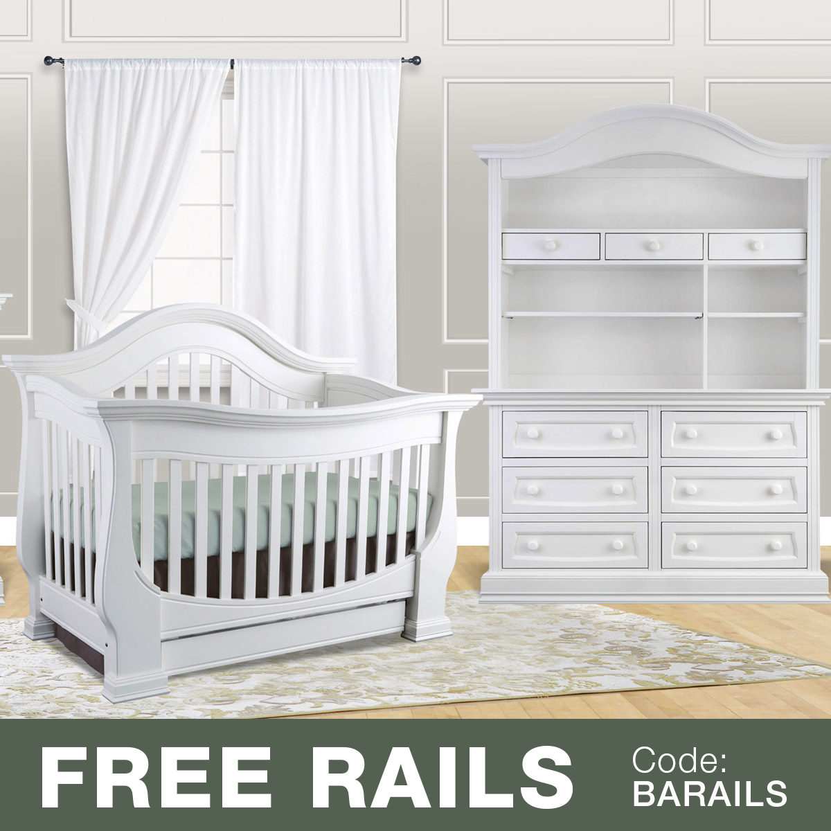 Baby Leseed 3 Piece Nursery Set Davenport In 1 Convertible Crib Double Dresser And Hutch Slate Free Shipping