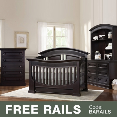 Baby Appleseed 4 Piece Nursery Set - Chelmsford 3-in-1 Convertible Crib, Davenport  5 Drawer Tall Dresser and 6 Drawer Double Dresser with Hutch in Espresso - Click to enlarge