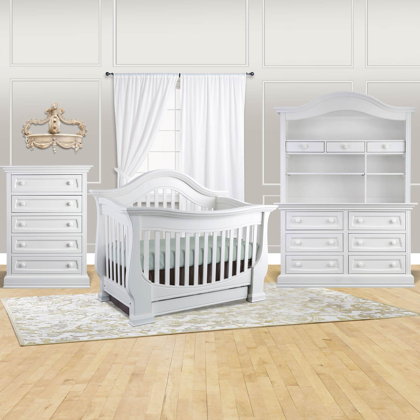 Baby Appleseed 4 Piece Nursery Set   Davenport 3 In 1 Convertible Crib, 5  Drawer Tall Dresser And 6 Drawer Double Dresser With Hutch In Pure White  FREE ...