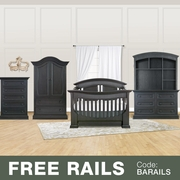Baby Appleseed 5 Piece Nursery Set - Chelmsford 3-in-1 Convertible Crib, Davenport Double Dresser with Hutch, 5 Drawer Tall Dresser and Armoire in Brown Slate
