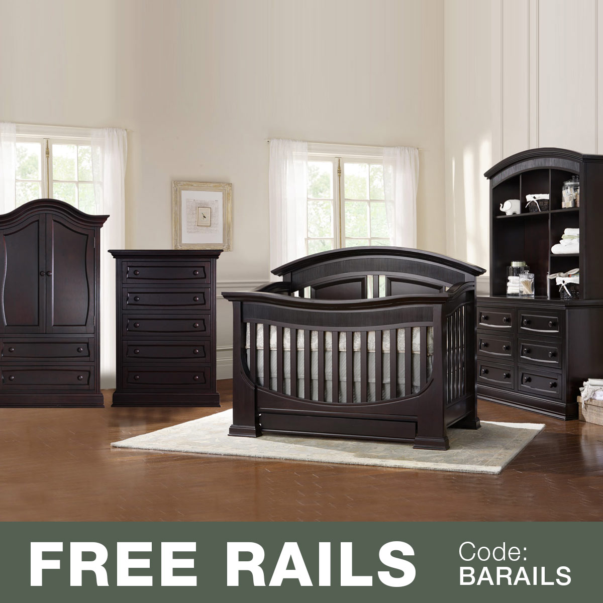 Baby Appleseed 5 Piece Nursery Set   Chelmsford 3 In 1 Convertible Crib,  Davenport Double Dresser With Hutch, 5 Drawer Tall Dresser And Armoire In  Espresso ...
