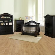 Baby Appleseed Davenport 5 Piece Nursery Set - 3-in-1 Convertible Crib, Double Dresser with Hutch, 5 Drawer Tall Dresser and Armoire in Espresso