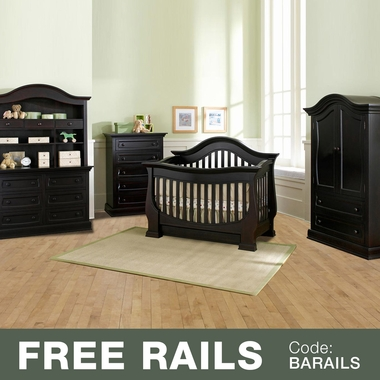 Baby Appleseed Davenport 5 Piece Nursery Set - 3-in-1 Convertible Crib, Double Dresser with Hutch, 5 Drawer Tall Dresser and Armoire in Espresso - Click to enlarge