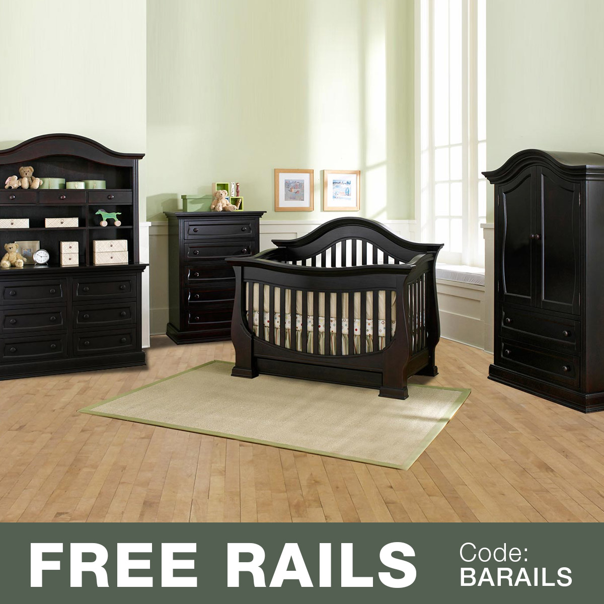 Baby Appleseed 5 Piece Nursery Set   Davenport 3 In 1 Convertible Crib,  Double Dresser With Hutch, 5 Drawer Tall Dresser And Armoire In Coco FREE  SHIPPING