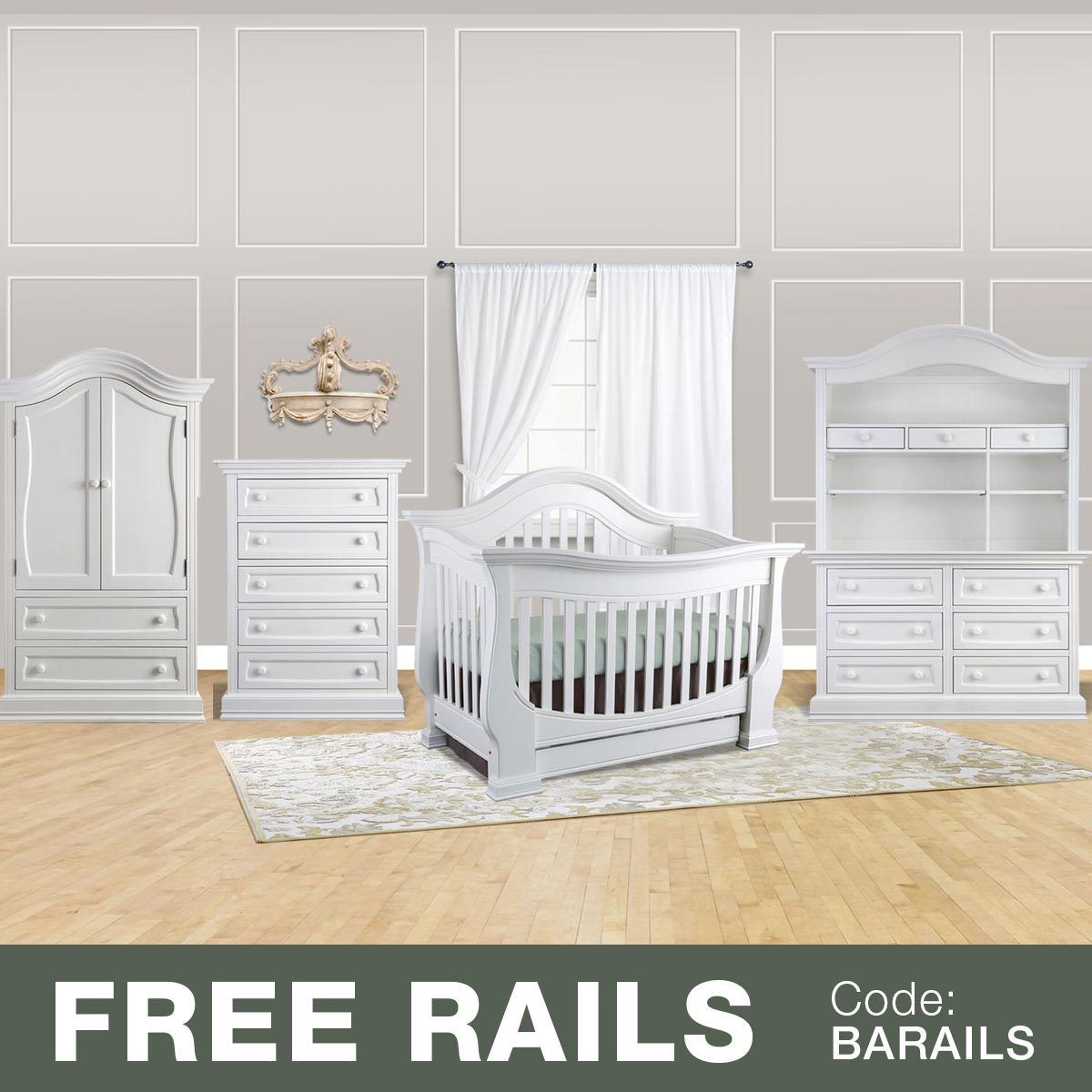 Baby Leseed Davenport 5 Piece Nursery Set 3 In 1 Convertible Crib Double Dresser With Hutch Drawer Tall And Armoire Pure White