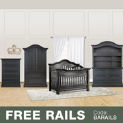 Baby Appleseed 5 Piece Nursery Set - Millbury 3-in-1 Convertible Crib, Davenport Double Dresser with Hutch, 5 Drawer Tall Dresser and Armoire in Brown Slate