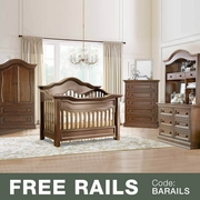 Baby Appleseed 5 Piece Nursery Set - Millbury 3-in-1 Convertible Crib, Davenport Double Dresser with Hutch, 5 Drawer Tall Dresser and Armoire in Coco