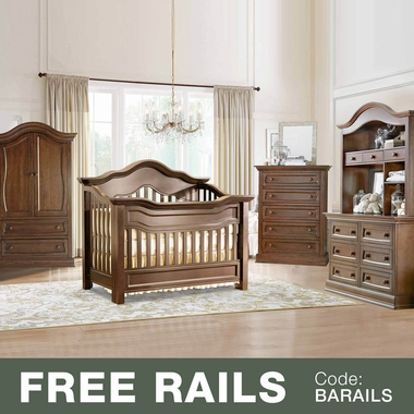 Baby Appleseed 5 Piece Nursery Set - Millbury 3-in-1 Convertible Crib, Davenport Double Dresser with Hutch, 5 Drawer Tall Dresser and Armoire in Coco - Click to enlarge