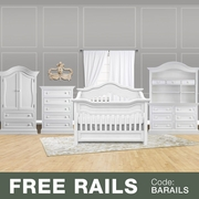 Baby Appleseed 5 Piece Nursery Set - Millbury 3-in-1 Convertible Crib, Davenport Double Dresser with Hutch, 5 Drawer Tall Dresser and Armoire in Pure White