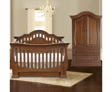 Baby Appleseed Beaumont 2 Piece Nursery Set - Convertible Crib and Armoire in Coco