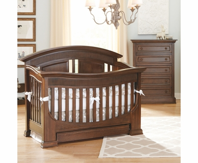 Baby Appleseed Chelmsford 2 Piece Nursery Set - Convertible Crib and 5 Drawer Chest in Coco