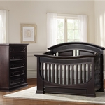 Baby Appleseed Chelmsford 2 Piece Nursery Set - Convertible Crib and 5 Drawer Chest in Espresso