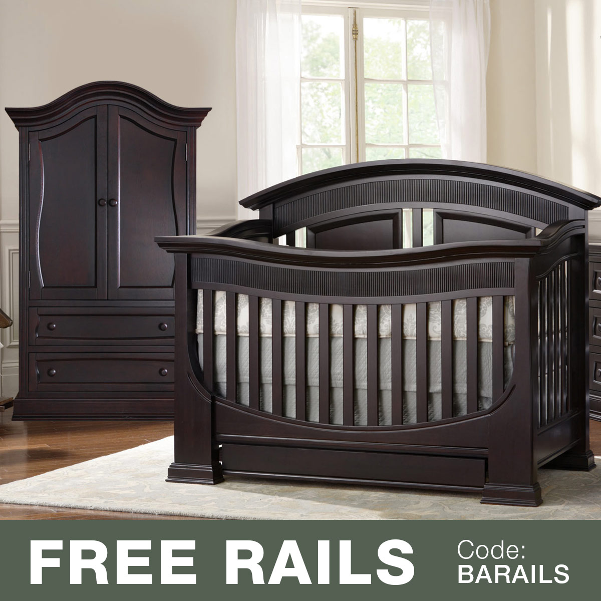 Baby Appleseed Chelmsford 2 Piece Nursery Set   Convertible Crib And Armoire  In Espresso FREE SHIPPING