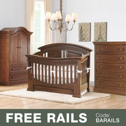 Baby Appleseed Chelmsford 3 Piece Nursery Set - Convertible Crib, Armoire and 5 Drawer Chest in Coco